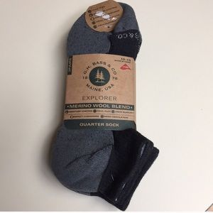 G.H. BASS 3-pack merino wool blend quarter socks